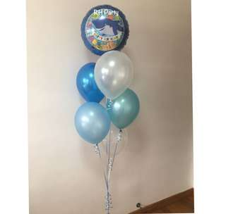 (16/7) Include helium Happy Birthday under the sea animals shark Foil Latex Balloon Bouquet