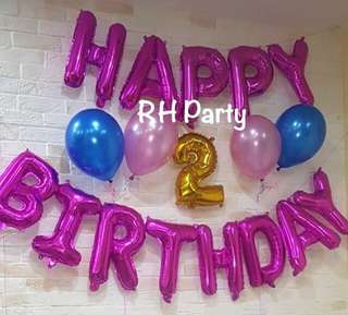 (15/7) Alphabet letter foil balloons / Happy birthday /number foil / latex balloons wall deco