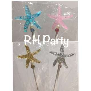 (10/7)  FREE NORMAL MAIL - under the sea theme / Starfish Cake Toppers/ Tags / Baking Supplies / Cupcake topper
