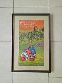 Bali Oil Painting With Frame Size 49x32cm Perfect