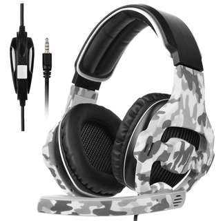 1406. SADES SA810 New Updated Xbox One Headset Over Ear Stereo Gaming Headset Bass Gaming Headphones with Noise Isolation Microphone for New Xbox One PC PS4 Laptop Phone(Camouflage)