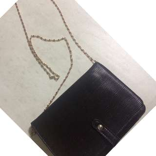 Flat Purse with Gold Long chain