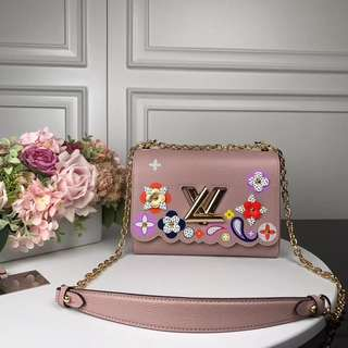 lv twist flower print bag
