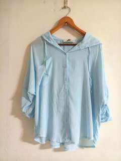 🚚 韓系水藍薄外套