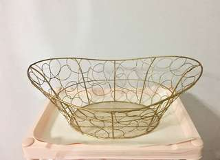 Basket, Gold colour wired