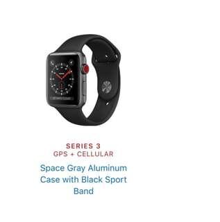 [Brand NEW] Apple Watch 38mm series3 GPS+ cellular 太空灰連黑色錶帶
