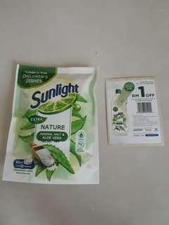 Sunlight Dishwashing Liquid with Coupon