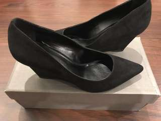 Never Used Charles And Keith Black Suede Wedge