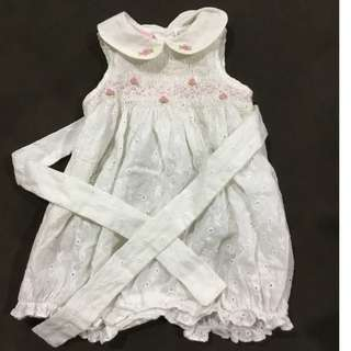 Embroidered cotton romper 100% cotton
