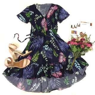 Floral Wraparound High-Low Dress