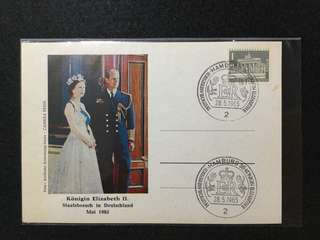 1965 Germany QE2 State Visit To Germany Souvenir Card