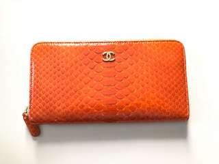 Chanel Wallet 橙色蛇皮銀包