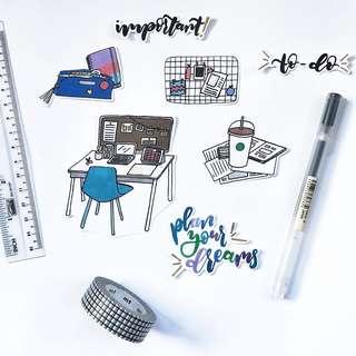 D001 Hardworking Desk Stickers - Stickyrella
