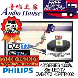 PHILIPS 43PFT4002 FHD LED TV (LOCAL SET) 3 YEARS WARRANTY BY PHILIPS | DVB-T2 TUNER FOR HD5***