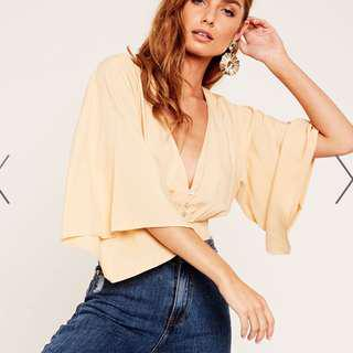 Glassons Yellow Deep V Blouse