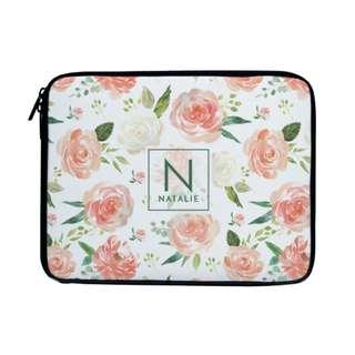 Personalized Laptop Sleeve Case Bag Peach Floral Framed Monogram