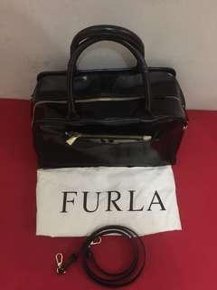 furla black leather authentic