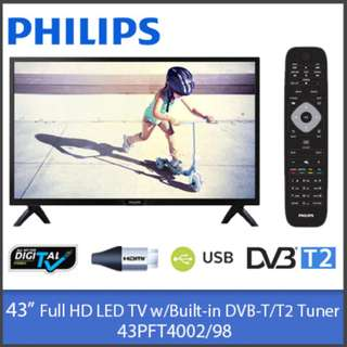 """[PHILIPS]Philips 43PFT4002 / 43PFT5102 43"""" FULL HD LED TV and Smart TV w/Built-in DVB-T/T2 Tuner"""