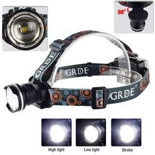 971. GRDE 900 Lumens Adjustable Wear-Can LED Head Lamp - Black