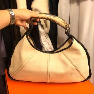 YSL leather with canvas handbag