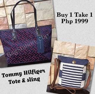 Buy 1 Take 1 Tommy Hilfiger Tote & Denim Sling Bag
