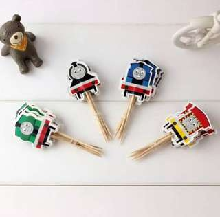 12 pcs 🚂 Thomas and Friends Train Locomotive Engine Cupcake Topper Cake Toppers Birthday Party Decoration Baking Picks