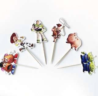 12 pcs Toy Story Woody Buzz Lightyear Aliens Cupcake Topper Cake Toppers Birthday Party Decoration Baking Picks