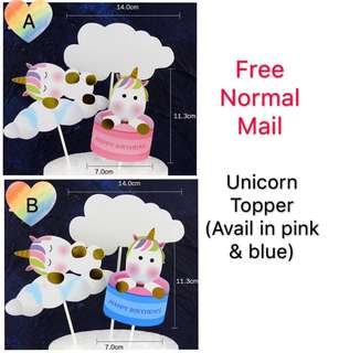 (16/7) Free normal mail - unicorn happy happy birthday cake topper / cake tags / baking supplies/ cake decorations