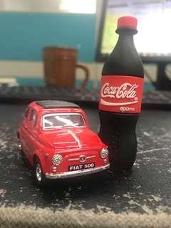 Coca-Cola Bottle Pen Drive & Fiat 500 Car