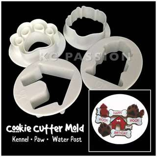 🐶 DOG COOKIE CUTTER MOLD TOOL • PAW PATROL THEME [Kennel • Dog House • Paw • Water Post] Cake Decorating Tool for Cookies • Fondant Cake & Cupcake • Bread Dough • Pastry • Sugar Craft • Jelly • Gum Paste • Polymer Clay Art Craft •