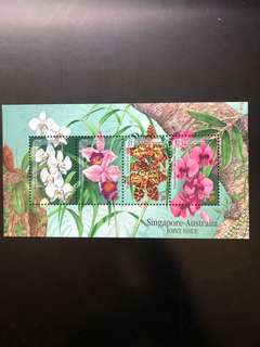Clearing at Face Value: Singapore 1998 Australia joint Issue Orchid Stamps Miniature Sheet, Mint Not Hinged