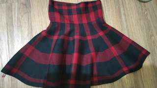 Thick Knitted Plaid Skirt