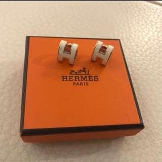 Hermes earrings Pop H 耳環 Off White/Rose Gold 經典百搭