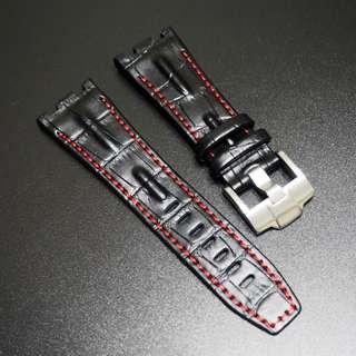 (2816) 全新28mm Audemars Piguet (AP) 專用黑皮紅線代用牛皮錶帶配精鋼針扣