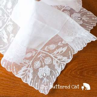 Pretty vintage wedding handkerchief, white net lace, cotton centre