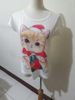 🚚 好搭 女生 可愛 小貓 貓咪 短袖 圓領 上衣 t恤 白色 休閒   #女裝半價拉