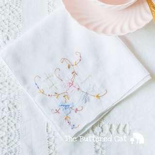 Pretty vintage appliqued handkerchief, white cotton, floral applique