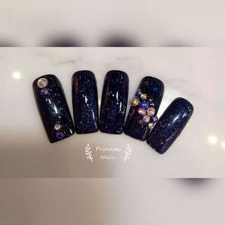 Gel nail navy glitter blue 🔹