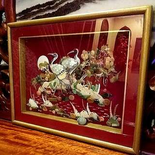 Mother Of Pearls Seashells  Gemstones Jades  Bird Crane Art