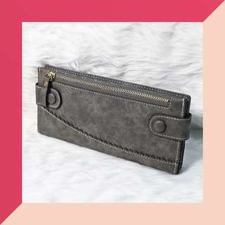 ❤ SALE! Womens Gray Buttoned Long Wallet