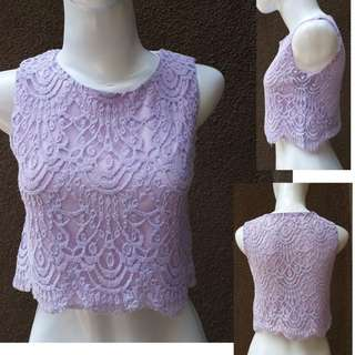 WOMAN TOP - Lace Cropped Top