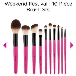 🚚 BH Cosmetics - Brand New Weekend Festival 10 Pieces Make Up Brush Set