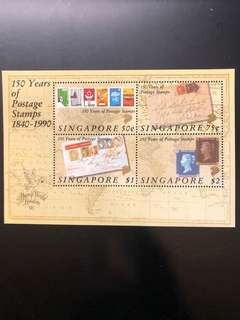 Clearing At Face Value: Singapore 1990 150th Years of Postage Stamps Miniature Sheet, Mint Not Hinged