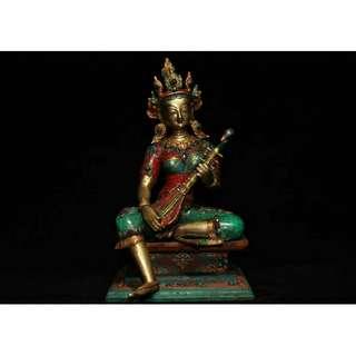 妙音天母 銅胎象嵌紅綠松石 供奉佛像