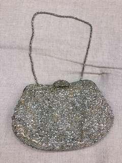 Elegant silver bling clutch
