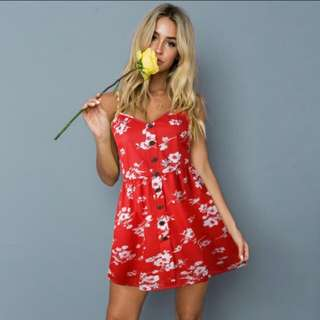 NWOT Cute red floral Summer dress
