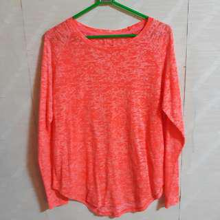 H&M Sport Neon Red Orange Long Sleeve Top Shirt