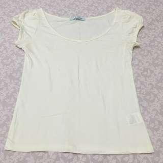 日本品牌 Dazzlin 白色公主袖上衣