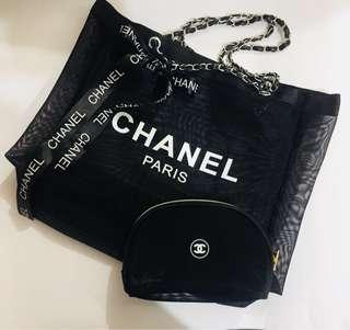 Chanel 黑色透明大袋連化妝袋🦋專櫃贈品