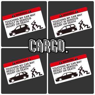 全新現貨(4款車種可選) 汽車貼紙 反光 汽車貼 貼紙 車貼 DON'T TOUCH MY CAR 警告 5座位 7人車 suv 寶馬 Honda